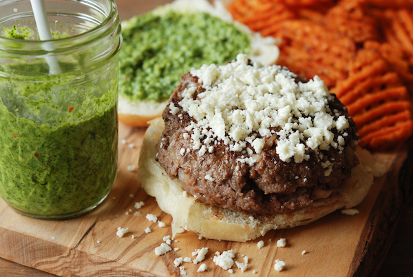 Chimichurri Burger with Roasted Sweet Potato Fries