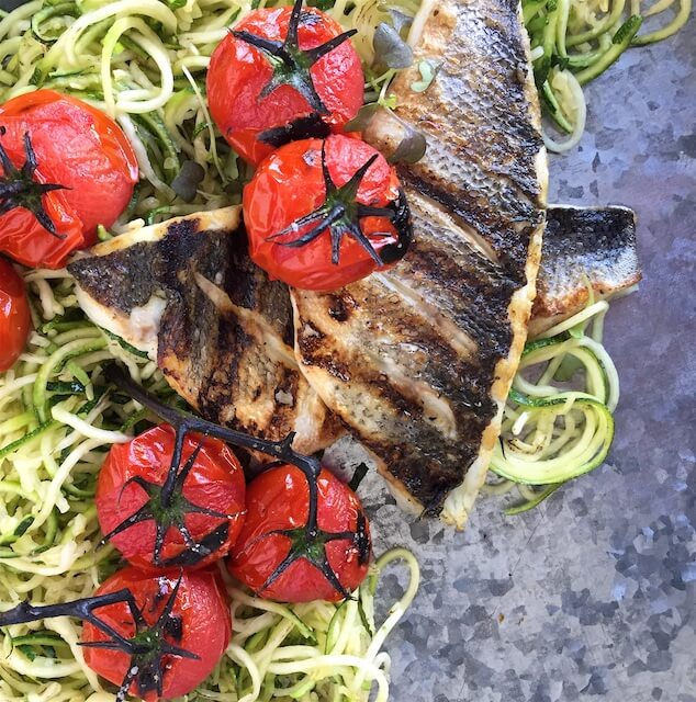 Lighten Up with Grilled Branzino Zoodles & Charred Tomatoes
