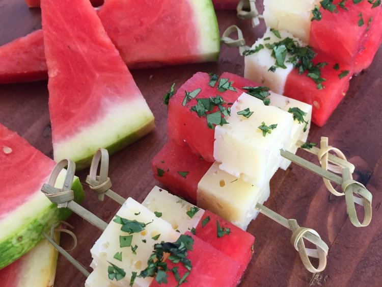 Sangria Infused Watermelon and Manchego Skewers