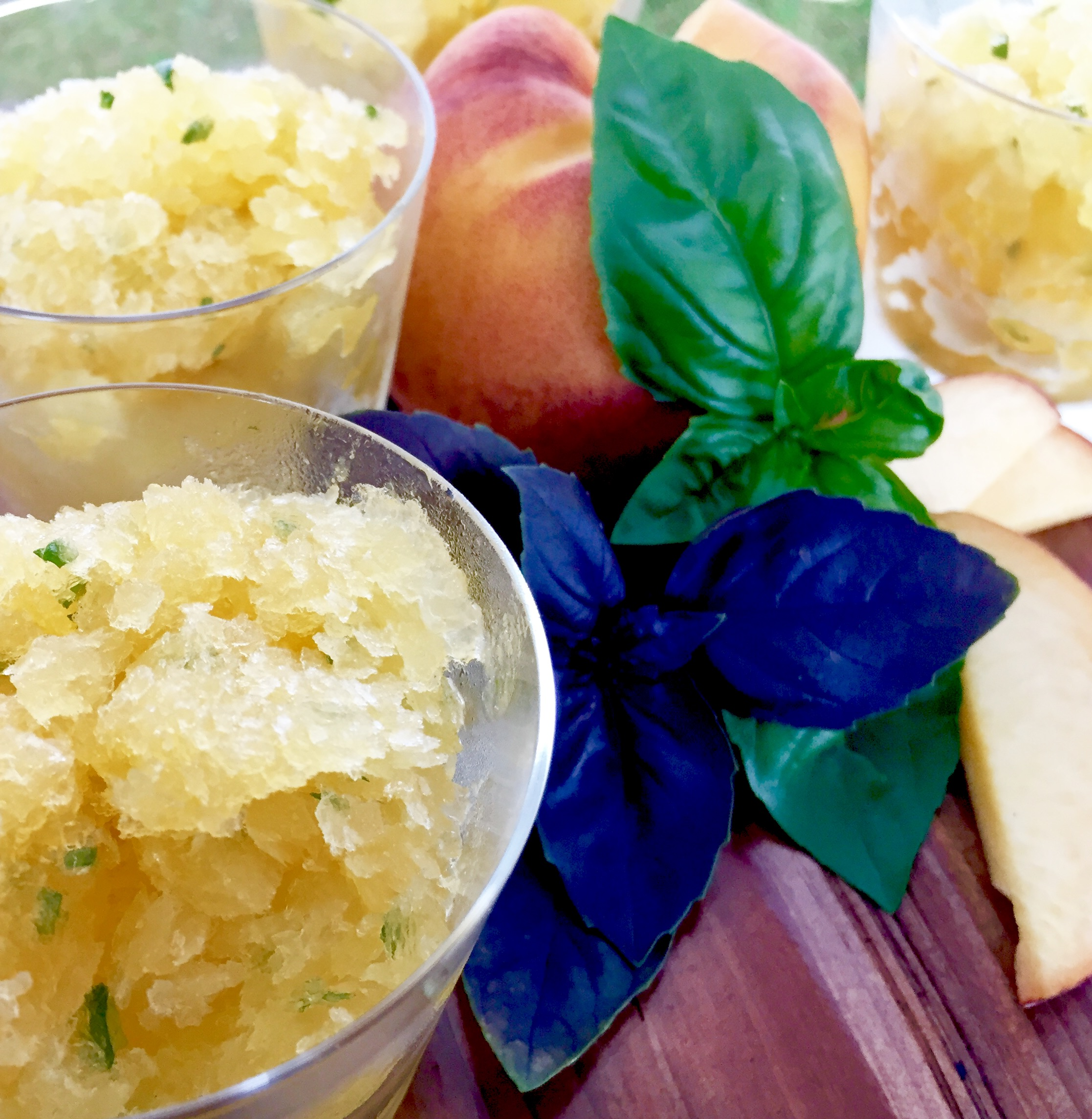 Peach and Basil Granita